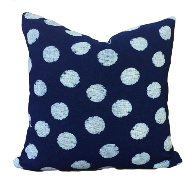 Indigo Dot Pillows - a Pair For Sale - Image 4 of 7