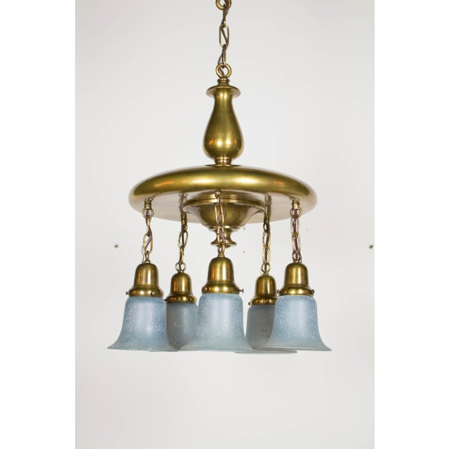 Early 20th Century Antique Brass Pan Light with Blue Hanging Glass For Sale - Image 5 of 6