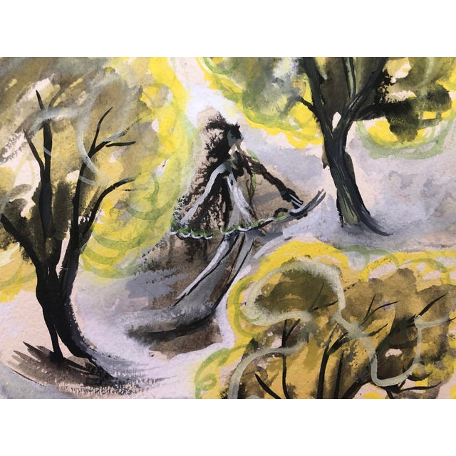 1940s Landscape With Dancer Watercolor Painting by William C. Palmer, 1947 For Sale - Image 5 of 6