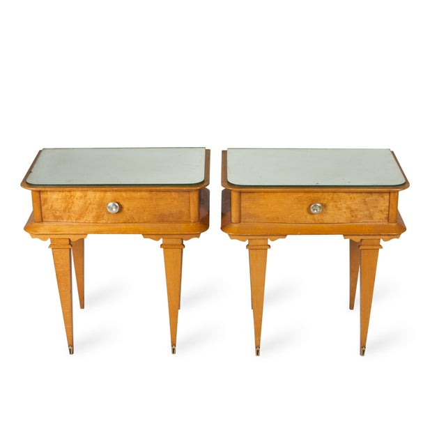 Vintage 1940s French Sycamore End Tables - A Pair - Image 3 of 10