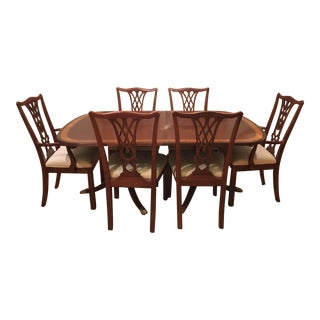 Traditional Ethan Allen Dining Set - 7 Pieces - Includes Table W/ 2 Leaves, 6 Chairs, Custom-Made Protective Table Cover For Sale