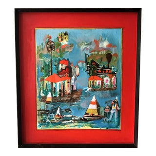 Framed Abstract Oil Painting With Impressionist Strokes Depicting a Seaside Mediterranean Town and Spanish-Style Homes