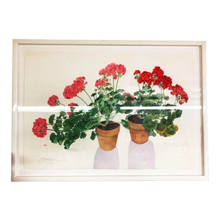 Large Framed Watercolor of Pink and Red Potted Geraniums by Gary Bukovnik For Sale