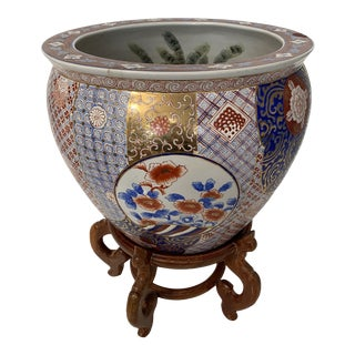 Large Imari Fishbowl Planter With Stand For Sale