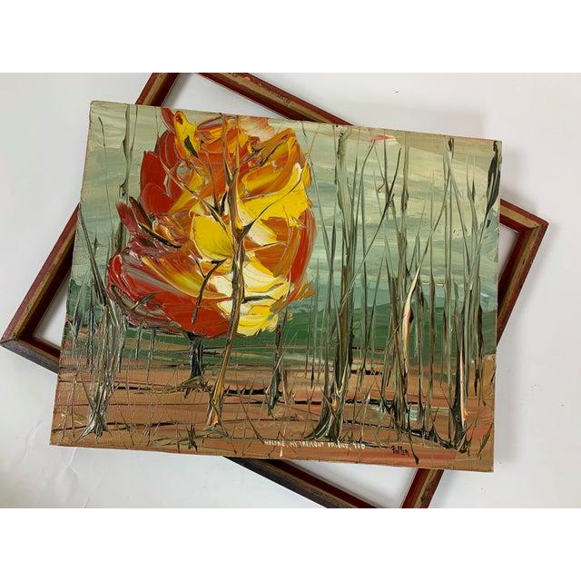 Orange Vintage Landscape Painting Signed Fuller For Sale - Image 8 of 10