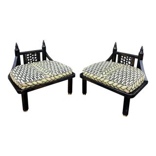 Unusual Vintage Ritts Co Mid Century Modern Black Chinoiserie Low Chairs For Sale