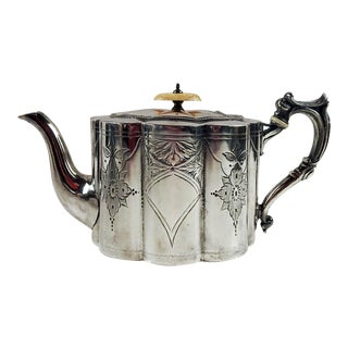 Alfred Browett English Silverplate Teapot For Sale