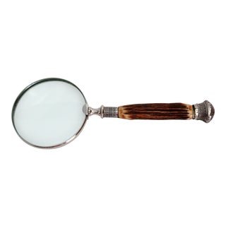 19th-C English Sterling & Stag Magnifying Glass