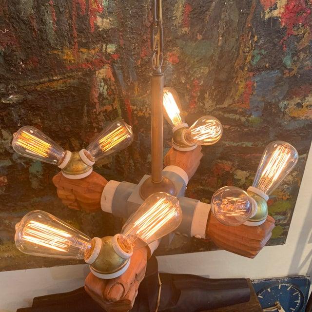 Antique Wooden Hands Chandelier For Sale - Image 9 of 10