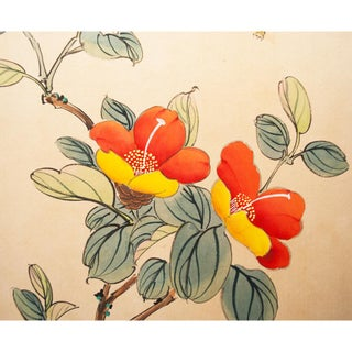 Bee & Camellia Japanese Watercolor on Silk, C. 1950s Preview