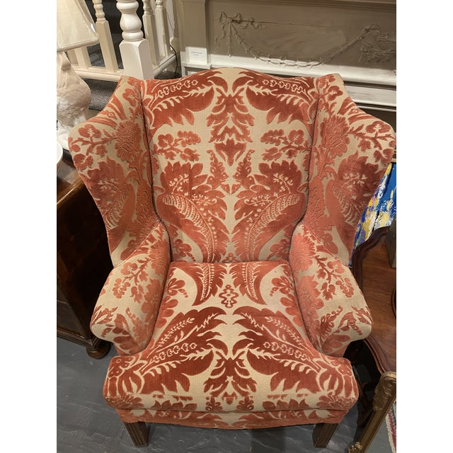 Traditional 1920s Vintage Red Wingback Chair For Sale - Image 3 of 7