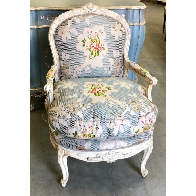 Dennis & Leen French Bergere Chair w Silk Lampas Feather Cushion - c. 1980's