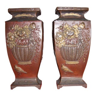 19th Century Japanese Meiji Bronze Vases - a Pair
