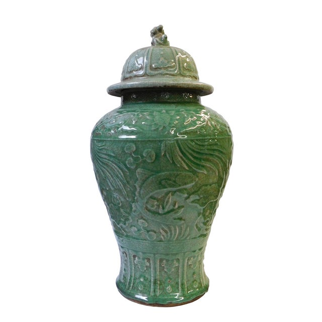 Chinese Crackle Celadon Green Temple Jar - Image 3 of 8