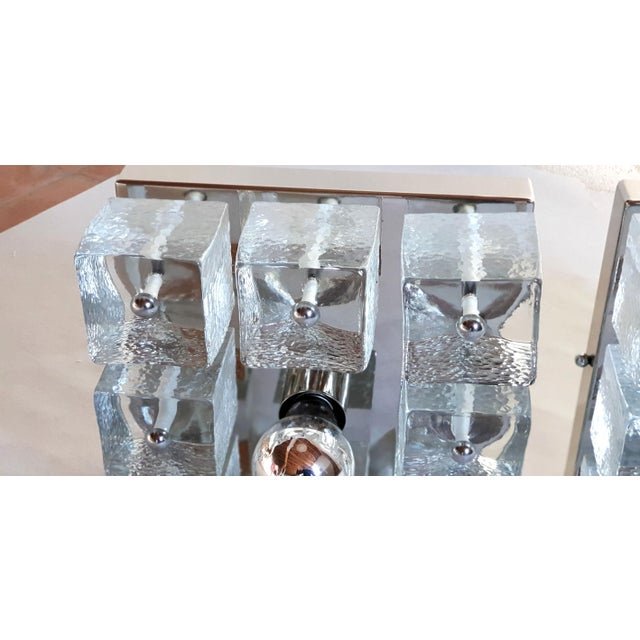 Chrome Pair of Square Chrome/Glass Sconces/Flush Mount Lights, Mid Century Modern For Sale - Image 8 of 11