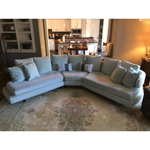 Beautiful Vintage Mid Century Sectional possibly a B&B Italia early Arne design. The fabric feels like a low velvet blend...