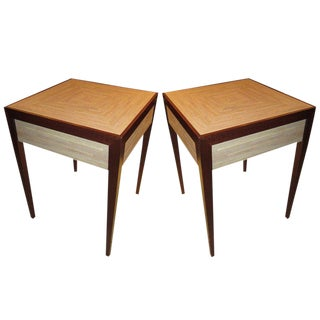 Custom Pair of Shagreen Top Tables For Sale