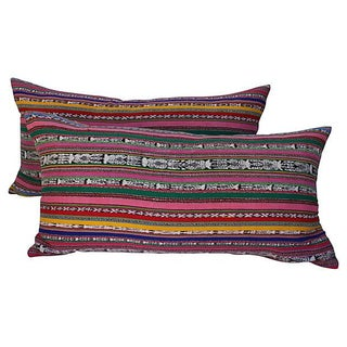Colorful Striped Ikat Pillows - A Pair For Sale