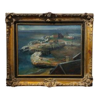Glasgow C.1930s Harbor Scene California Regionalist Oil Painting For Sale