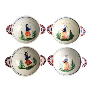 1920s Early 20th Century French Quimper Pottery Lugged Bowls - Set of 4 For Sale