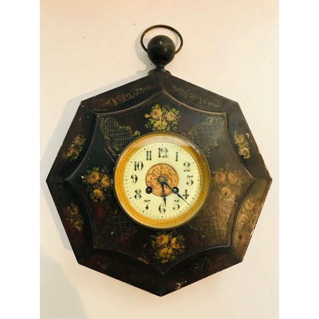 Metal 19th Century Tole Painted Decorative Wall Clock For Sale - Image 7 of 7