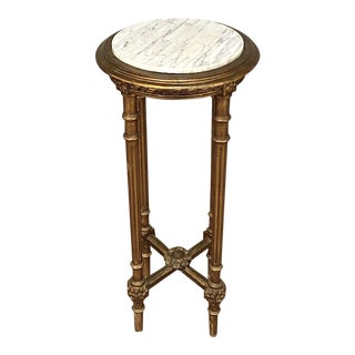 19th Century French Louis XVI Giltwood Marble Top Pedestal Table For Sale