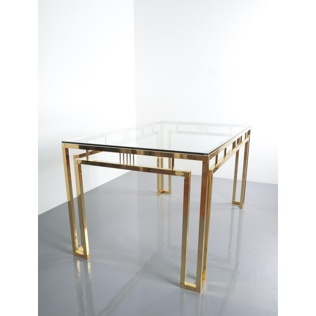 Romeo Rega Breakfast Or Dining Table Brass Glass, Italy 1960. Perfectly sized polished brass breakfast table with glass...