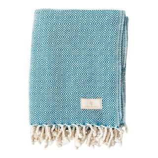 Stick & Ball Handwoven Cotton Towel in Petrol Blue For Sale