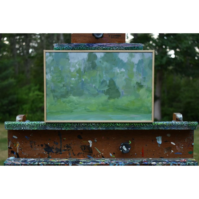 Inspired by the subtle hue differences on a misty spring morning. Painted en plein air - from life- in the backyard. This...