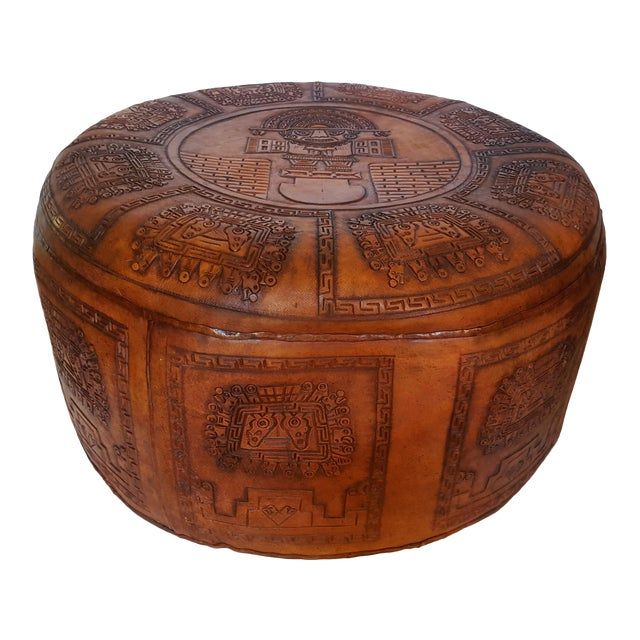 Peruvian Brown Leather Pouf For Sale