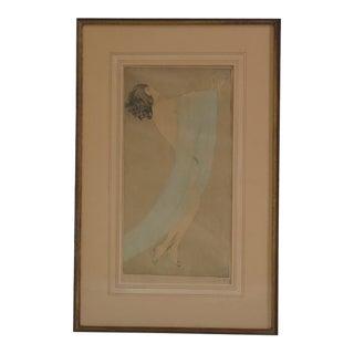 Vala Moro Original Art Nouveau Deco Female Etching Print For Sale