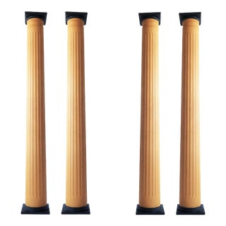 Set of Four Monumental Painted Wood Columns on Bases For Sale