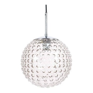 One of Five Bubble Glass Chrome Pendant Lamps by Staff, 1960 For Sale