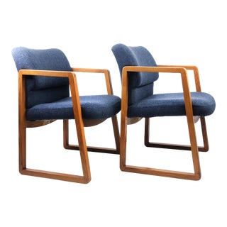 1970s Mid-Century Modern Blue Wool Armchairs - a Pair