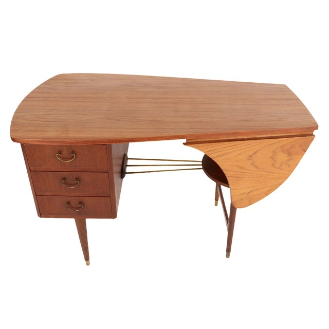 Danish Modern Biomorphic Double Drop Leaf Desk - Image 1 of 11