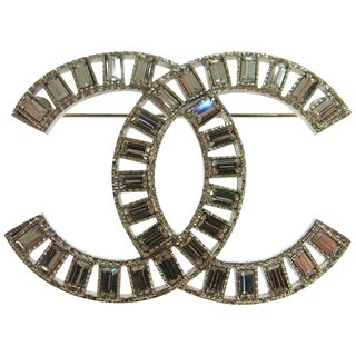 Chanel Silver Rhinestone Charm Evening Lapel Pin Brooch For Sale