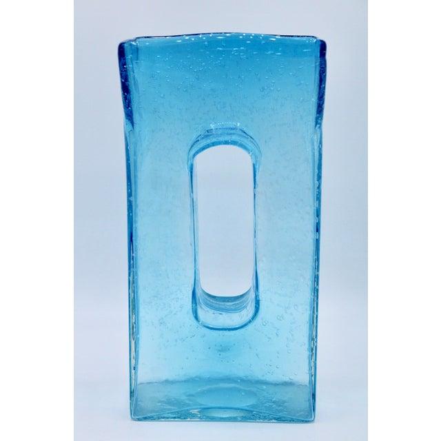 Large Mid Century Modern Aqua Blue Rectangular Glass Vase For Sale In Tulsa - Image 6 of 13
