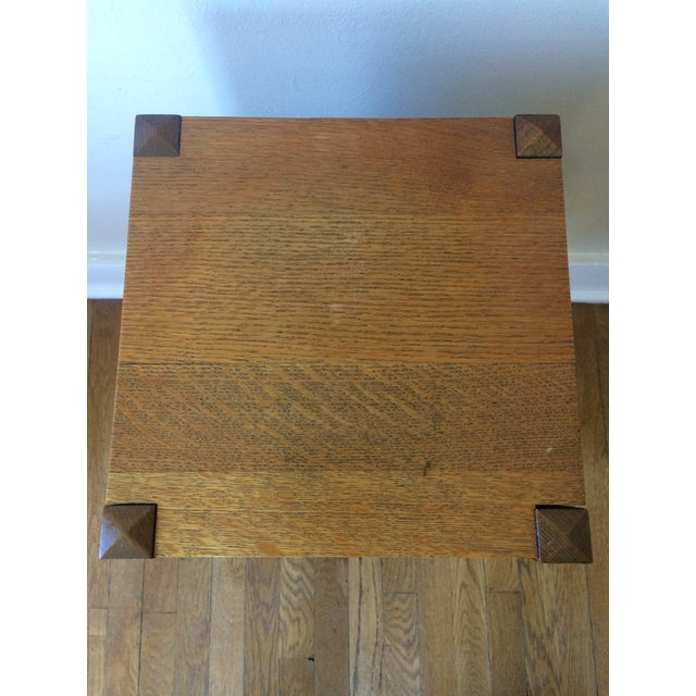 1930s Antique Mission Arts & Crafts Side Table Cabinet - Image 7 of 9