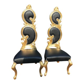 Italian Baroque Black Leather and Gold Leaf Finish Chairs - a Pair - Made to Order For Sale