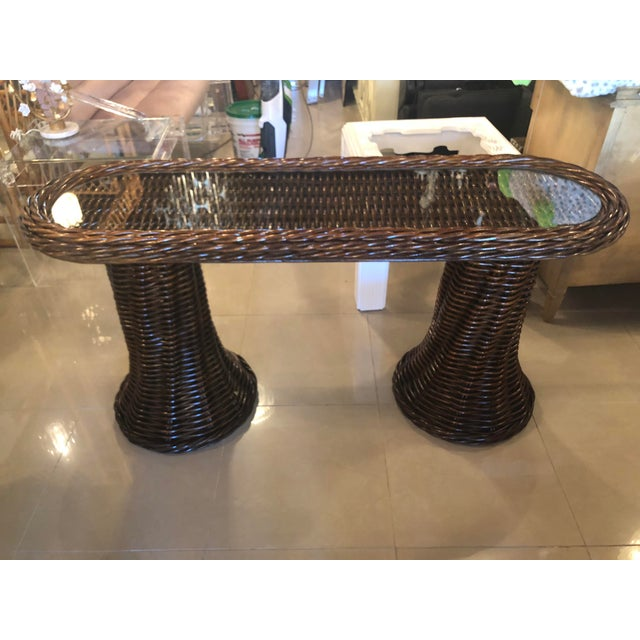 1970s Vintage Double Pedestal Braided Wicker Console Table For Sale - Image 5 of 13