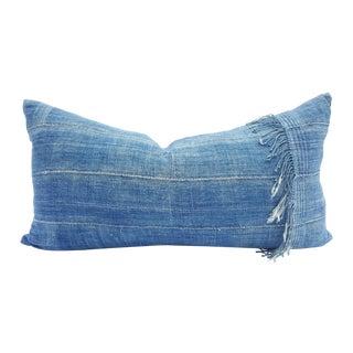 Fringed Lumbar Denim Blue African Mud Cloth Pillow For Sale