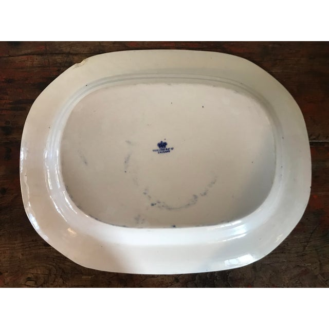 Ceramic 1930s English Flow Blue Willow Large Platter For Sale - Image 7 of 12