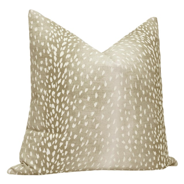"""Contemporary 22"""" Natural Antelope Linen Print Pillows - a Pair For Sale - Image 3 of 5"""