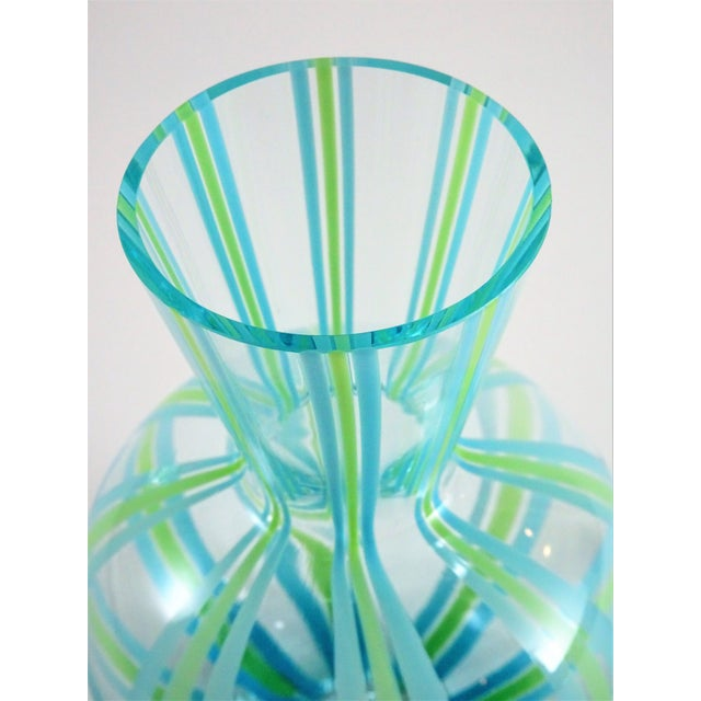 Hollywood Regency Hand Blown Green and Blue Glass Vase For Sale - Image 3 of 13