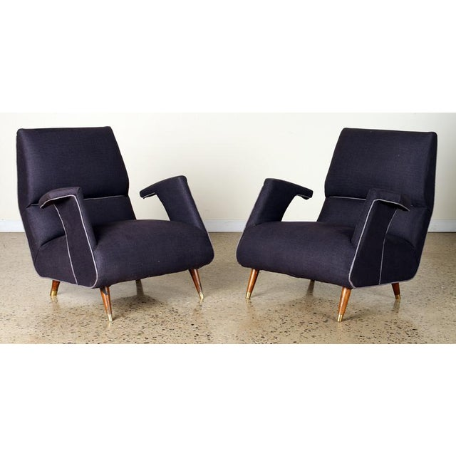 Wood A Pair of George Jetson Style Upholstered Club Chairs For Sale - Image 7 of 7