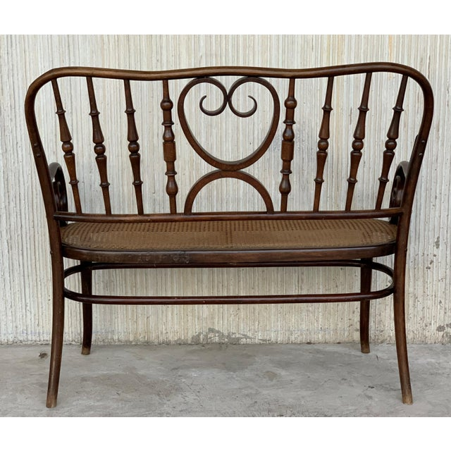 20th Century Bentwood Sofa in the Thonet Style, Circa 1925, Caned Seat For Sale - Image 4 of 10
