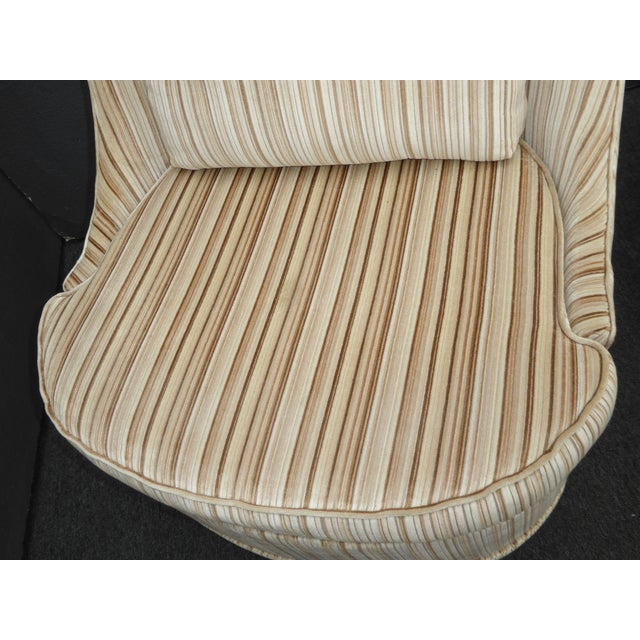 Textile Vintage Mid-Century Modern Milo Baughman Style Tan Stripped Velvet Swivel Chairs - a Pair For Sale - Image 7 of 13