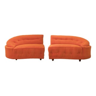 Mid Century Biomorphic Orange Velvet Loveseats in the Manner of Vladimir Kagan For Sale