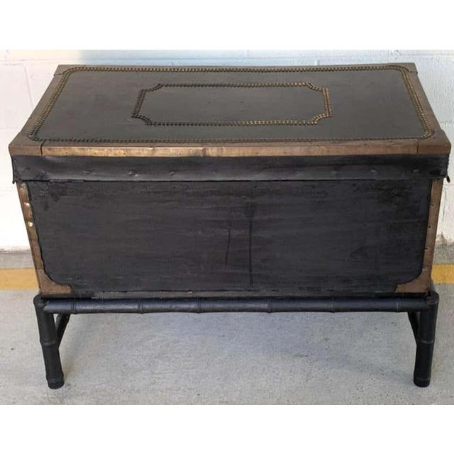 19th Century 19th Century English Regency Brass Studded Leather Chest on Stand For Sale - Image 5 of 10