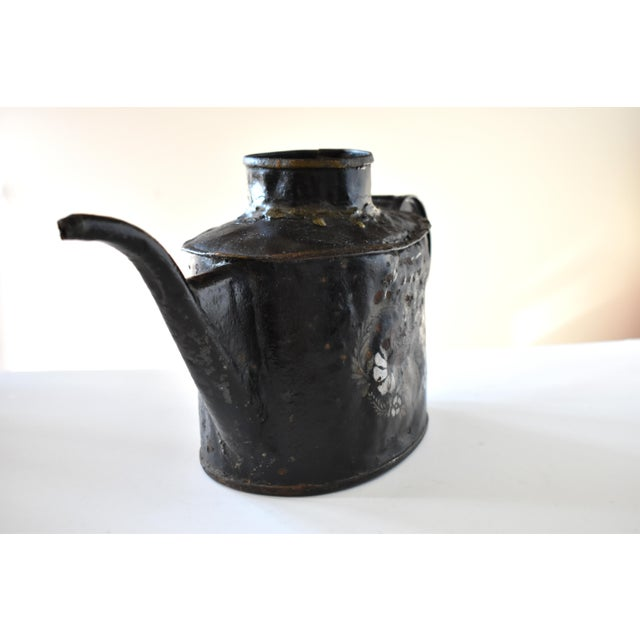 Antique 1830s Americana Painted Gold and Silver Tole Watering Pot For Sale - Image 4 of 12